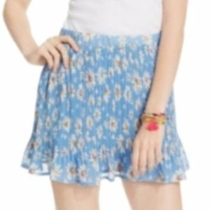 American Rag Blue Pleated Daisy Flower Mini Skirt